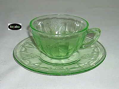 Cameo Ballerina Green Cup and Saucer plain hdl Hocking