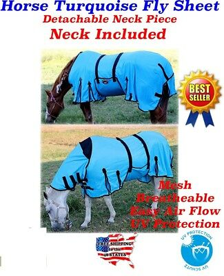 Horse Bug Mosquito Fly Sheet Spring Airflow Mesh UV Detachable Neck 73130M