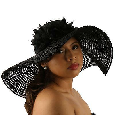 "Summer Cotton Mesh Dual Floral Net Floppy Wide 5""+ Brim Beach Sun Hat 57cm Black"