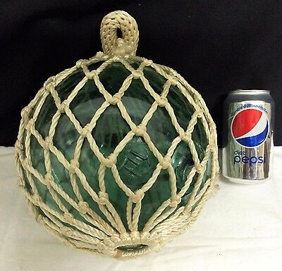 Antique Japanese T Seal Mark Green Glass Ball Tuna Fishing Float Rope Buoy 28""