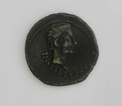 Ancient Copper Bronze Coin~~Head on Obverse, Columns on Reverse~~Many Letters