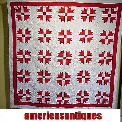 "RED AND WHITE ANTIQUE QUILT GOOSE TRACKS LARGE SIZE 78"" by 74"""