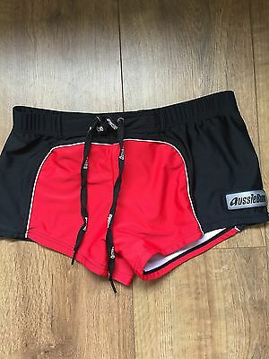 Boys Aussiebum Red Boxer Type Swimming Trunks Uk Size L