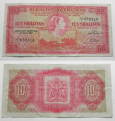 Bermuda 10 Shillings Currency Banknote 1957  VF