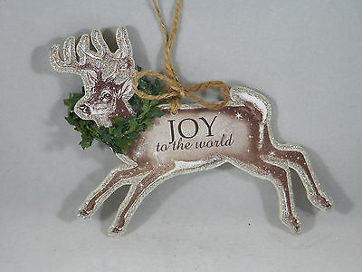 Joy to the World Reindeer Christmas Tree Ornament new holiday