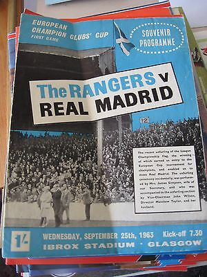 1963-64 Rangers v Real Madrid European cup 25.9.1963