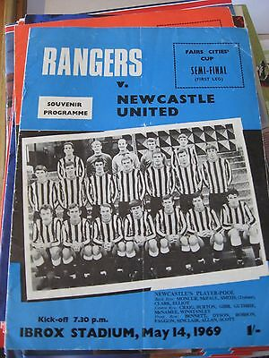 1968-69 Rangers v Newcastle United Fairs Cup Semi Final 1st leg 14.5.1969