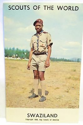 """1968  Boy Scouts Of America Postcard """" Scouts Of The World -Swaziland  """" Unused"""