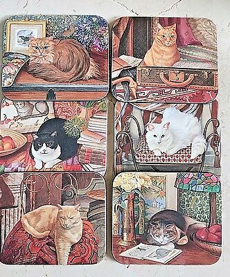 Lesley Anne Ivory Cats    6 Cork Backed  Coasters    Beautiful  Unused