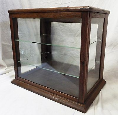 Old Antique Small Wooden Oak & Glass DISPLAY CASE Show Case w/ Glass Shelves