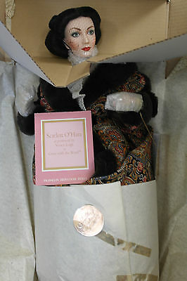Franklin Mint GWTW Scarlett Doll Paisley Robe Gold Standard Series With COA!!