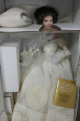 Franklin Mint Jacqueline Jackie Kennedy Wedding Bride Porcelain Doll MIB