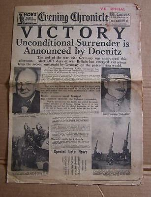 MAY 7th 1945 EVENING CHRONICLE 'VICTORY' NEWSPAPER.