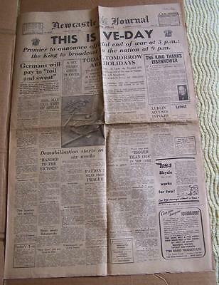 MAY 8th 1945 'NEWCASTLE JOURNAL' VE-DAY NEWSPAPER.