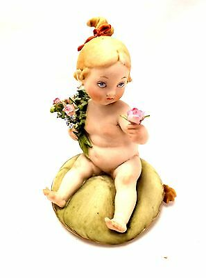 Vintage G. CALLE Capodimonte GIRL WITH FLOWER FIGURINE ORNAMENT 11cm - S09