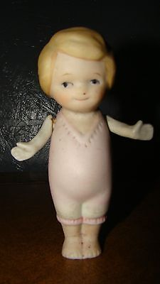 Vintage Bisque Porcelain 5  Inch Doll With Jointed Arm Fixed Legs