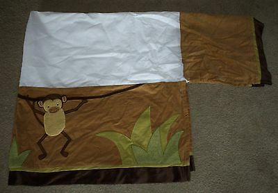 Lambs & Ivy BABY COCOA Jungle Monkey Safari CRIB SKIRT Dust Ruffle EXCELLENT!