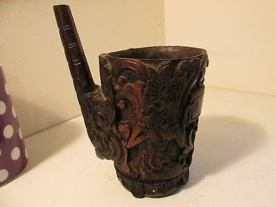 carved wooden cup c1900?   very nice detail