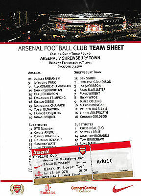 Football Ticket plusTeamsheet>ARSENAL v SHREWSBURY TOWN Sept 2011 FLC