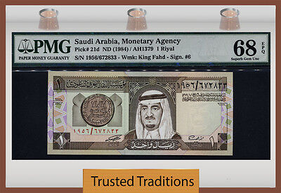 "TT PK 21d 1984 SAUDI ARABIA 1 RIYAL ""KING FAHD"" PMG 68 EPQ SUPERB GEM UNC!"