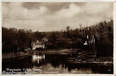 Waterworks Valley, St. Lawrence, Jersey, old sepia RP postcard, unposted