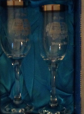 Duiske Irish Handcut Set of Champagne Glasses Etched Ireland New In Box WEDDING