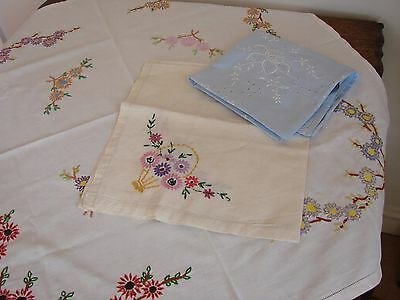 3 Pretty vintage cotton hand & machine embroidered tablecloths
