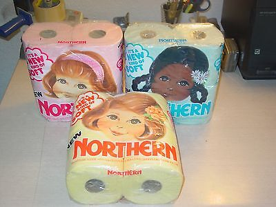 Vintage Northern Toilet Paper  (Pink  - Green - Yellow ) Unopened Four Roll Pack
