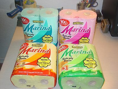Vintage 1980's Marina Toilet Paper  (Pink  - Green - Yellow - Blue )4 Roll Packs