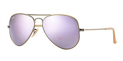Ray-Ban Women's Small Brushed Bronze Frame Lilac Mirror Lens RB3025 167/4K 55MM