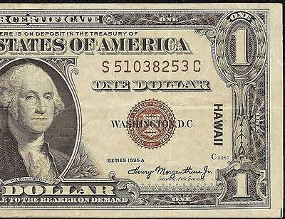1935 A $1 Dollar Bill Wwii Hawaii Brown Seal Silver Certificate Currency Note Vf
