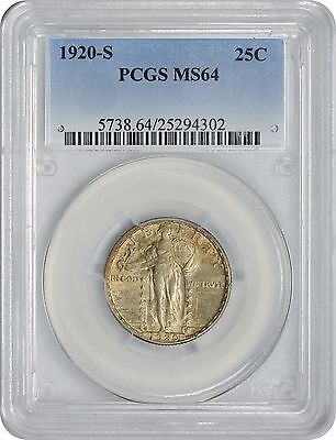 1920-S Standing Liberty Quarter MS64 PCGS Mint State 64