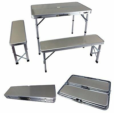 New Aluminum Camping Table & Chairs Folding Camp Set /w Umbrella Stand & Handles