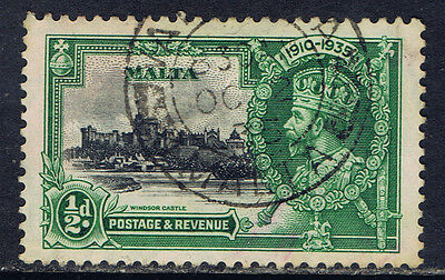 Malta #184(2) 1935 1 pence green & black King George V SILVER JUBILEE Used