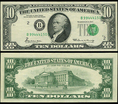 FR. 2018 B $10 1969 Federal Reserve Note New York Shifted 3rd Printing AU
