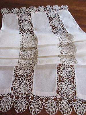 ORNATE Antique Linen TABLE RUNNER Lavish TATTING Tatted Inserts LARGE 23x65""
