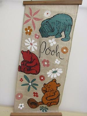 Vintage Classic WINNIE THE POOH Linen Wall Hanging Baby Room Nursery 15x32""