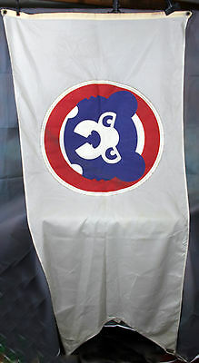Chicago Cubs Flag Flown Over Wrigley Field with Letter Cubbie Bear Logo Vintage