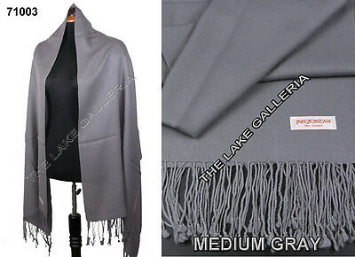 Plain Color Medium Gray 100% Real Pashmina Cashmere Wool Shawl Wrap Scarf New