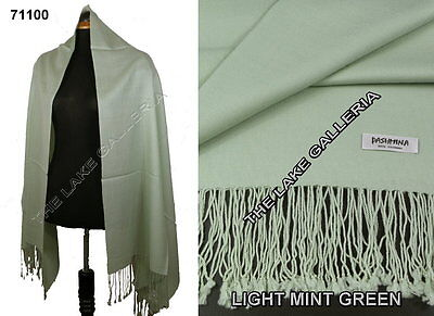 Plain Color Mint Green 100% Real Pashmina Cashmere Wool Shawl Wrap Scarf New