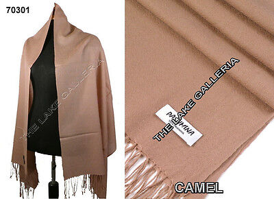 Plain Color Light Camel 100% Real Pashmina Cashmere Wool Shawl Wrap Scarf New