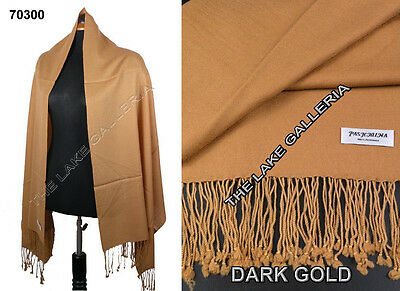 Plain Color Dark Gold 100% Real Pashmina Cashmere Wool Shawl Wrap Scarf New