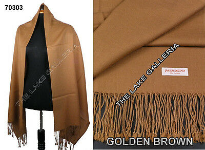 Plain Color Golden Brown 100% Real Pashmina Cashmere Wool Shawl Wrap Scarf New