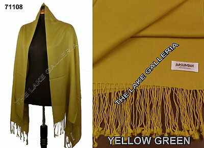Plain Color Yellow Green 100% Real Pashmina Cashmere Wool Shawl Wrap Scarf New