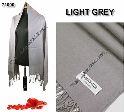 New Classic Light Gray Real 100% Pure Pashmina Cashmere Wool Shawl Wrap Scarf