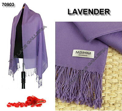New Classic Lavender Real 100% Pure Pashmina Cashmere Wool Shawl Wrap Scarf
