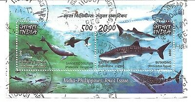 2009 Gangetic Dolphin & Butanding Miniature Sheet Used Joint India Philippines