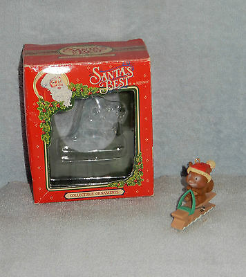 Santa's Best Rennoc Squirrel on Clothes Pin Sled Christmas Ornament in Box
