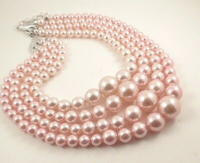Vintage 4 Strand Pink Bead Necklace Multi Strand