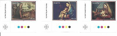 set of 3 Malta Nativity stamps MNH 2008 with border tabs